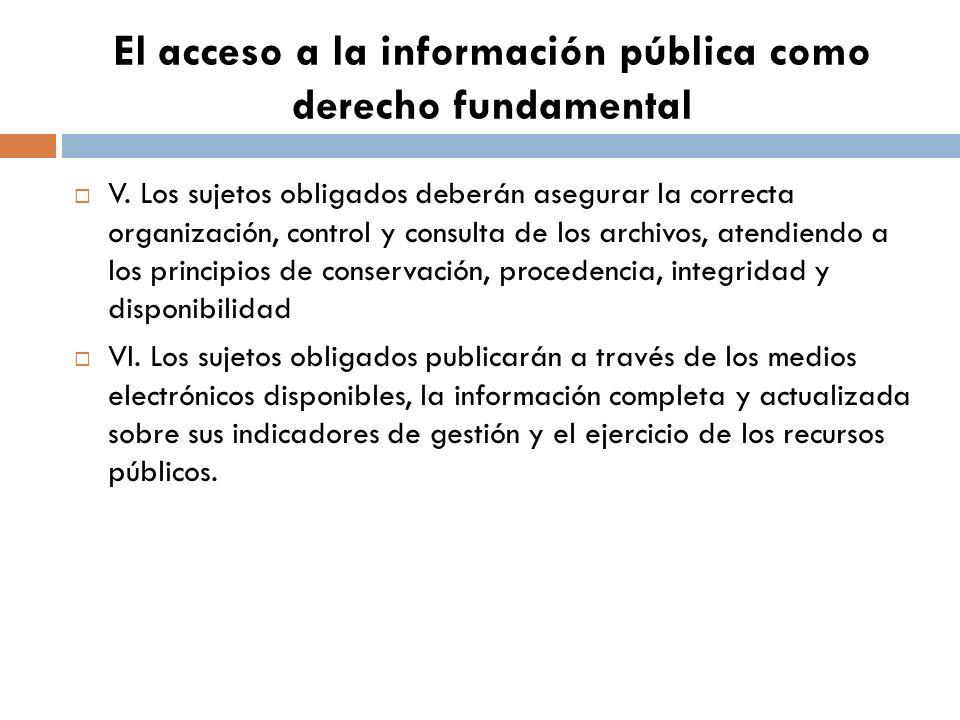 El acceso a la información pública como derecho fundamental V.