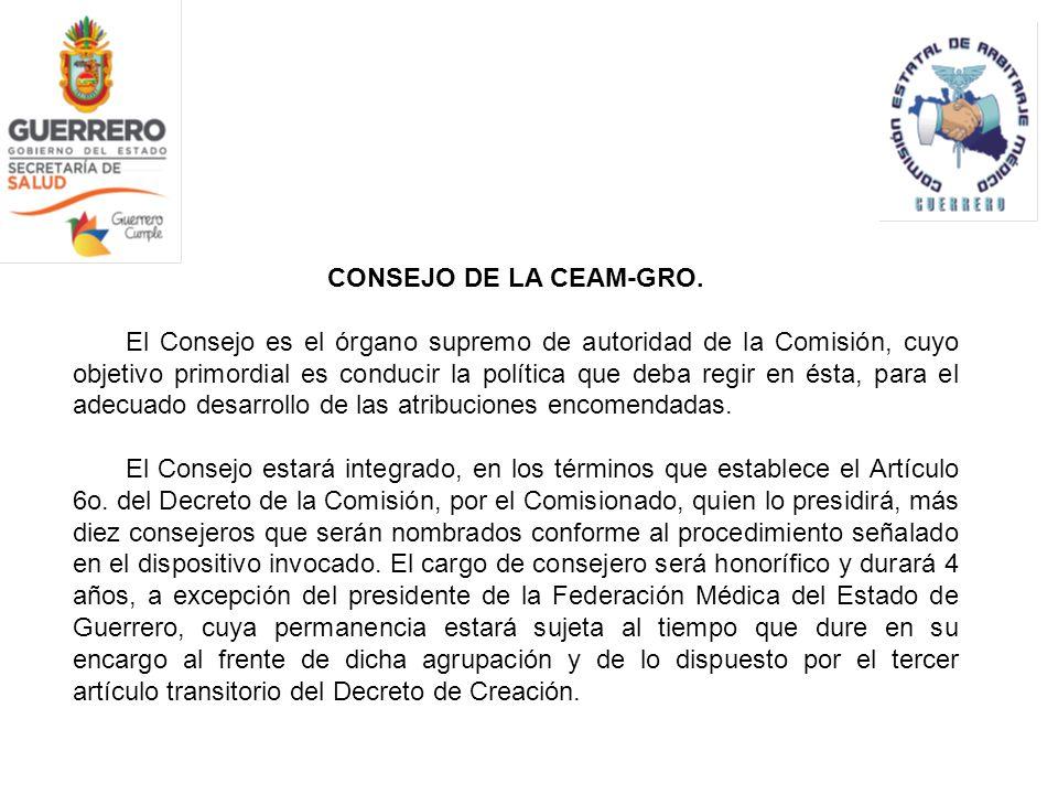 CONSEJO DE LA CEAM-GRO. El Consejo es el órgano supremo de autoridad de la Comisión, cuyo objetivo primordial es conducir la política que deba regir e