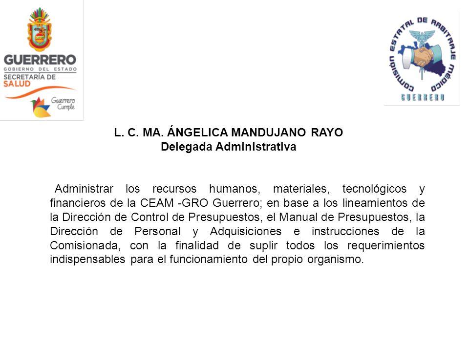 L. C. MA. ÁNGELICA MANDUJANO RAYO Delegada Administrativa Administrar los recursos humanos, materiales, tecnológicos y financieros de la CEAM -GRO Gue