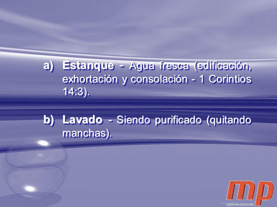 a)Estanque - Agua fresca (edificación, exhortación y consolación - 1 Corintios 14:3). b)Lavado - Siendo purificado (quitando manchas). a)Estanque - Ag