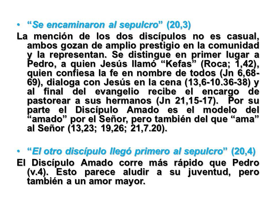 Se encaminaron al sepulcro (20,3)Se encaminaron al sepulcro (20,3) La mención de los dos discípulos no es casual, ambos gozan de amplio prestigio en l