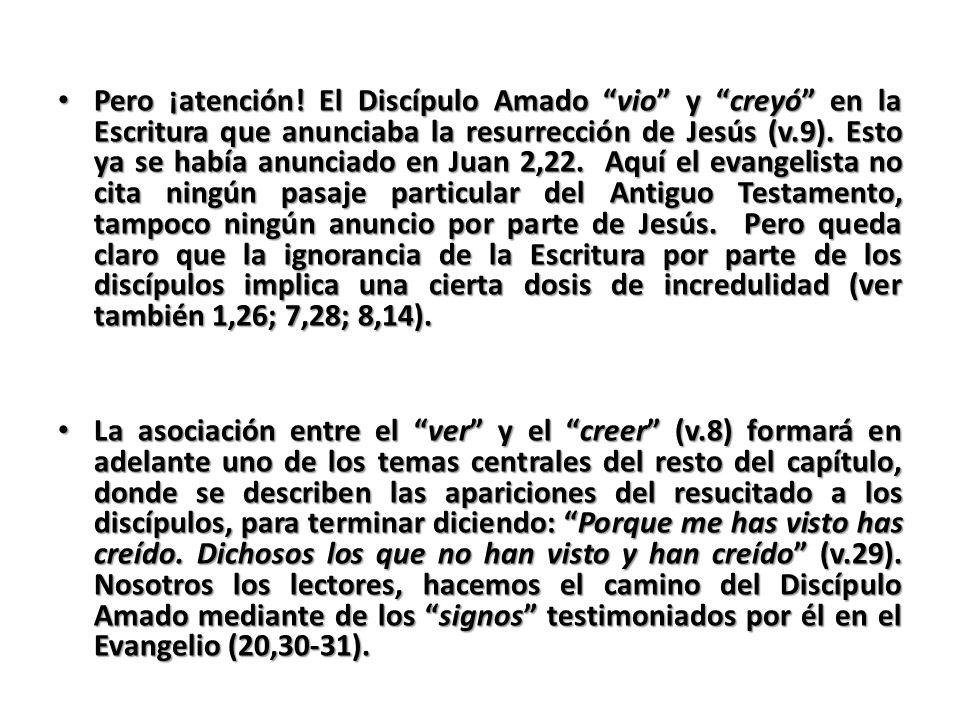 Pero ¡atención! El Discípulo Amado vio y creyó en la Escritura que anunciaba la resurrección de Jesús (v.9). Esto ya se había anunciado en Juan 2,22.