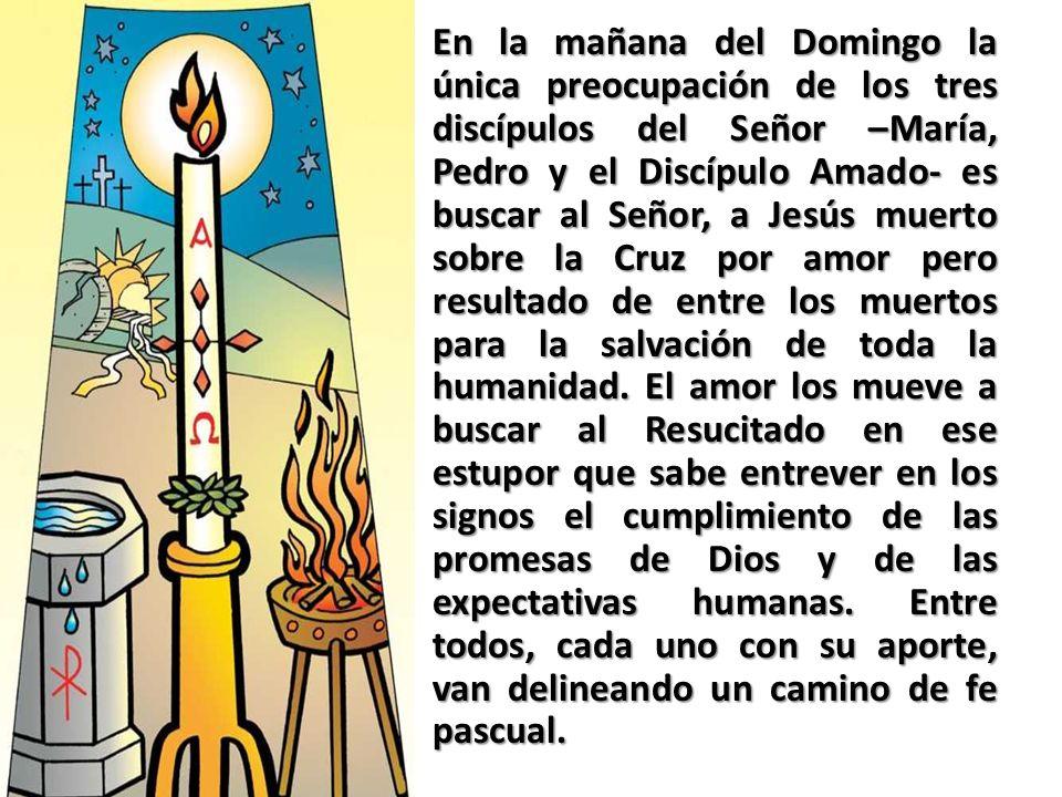 En la mañana del Domingo la única preocupación de los tres discípulos del Señor –María, Pedro y el Discípulo Amado- es buscar al Señor, a Jesús muerto