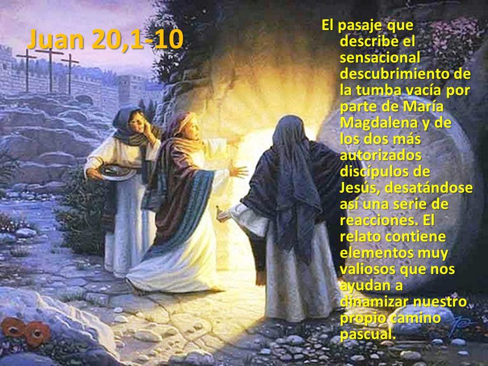 El pasaje que describe el sensacional descubrimiento de la tumba vacía por parte de María Magdalena y de los dos más autorizados discípulos de Jesús,