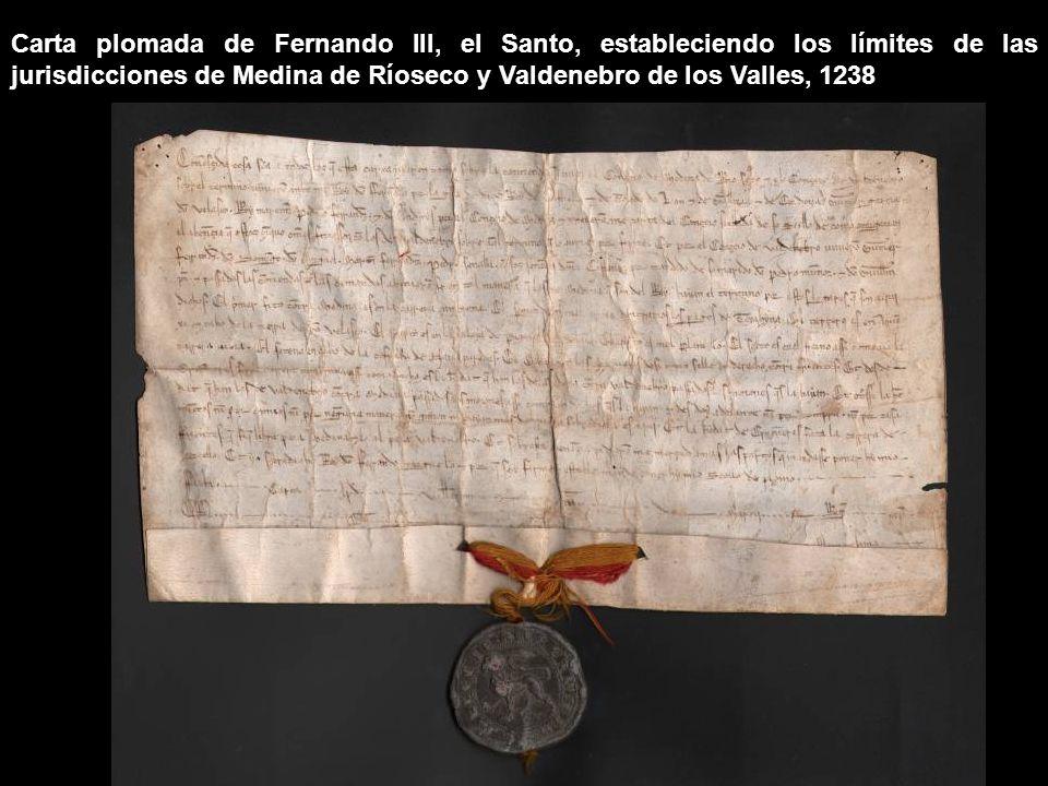 Mandato de Alfonso X, el Sabio, por el que dirime el pleito entre los Concejos de Medina de Ríoseco y Valladolid sobre el deslinde de los términos de ambas jurisdicciones, 1258