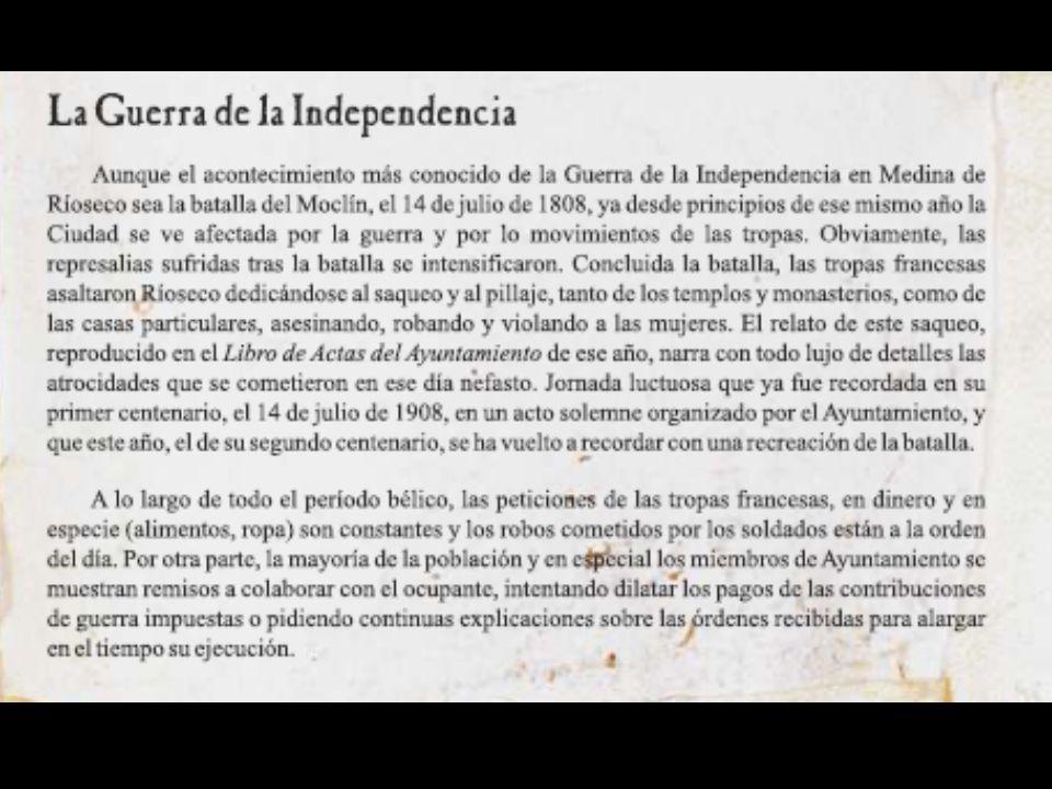 Acta en la que se recoge el acuerdo de pedir la exención en el pago de las contribuciones por los muchos daños sufridos por la Medina de Ríoseco durante la Guerra de la Independencia, especialmente el saqueo producido tras la batalla del Moclín que se narra con detalle, 1808