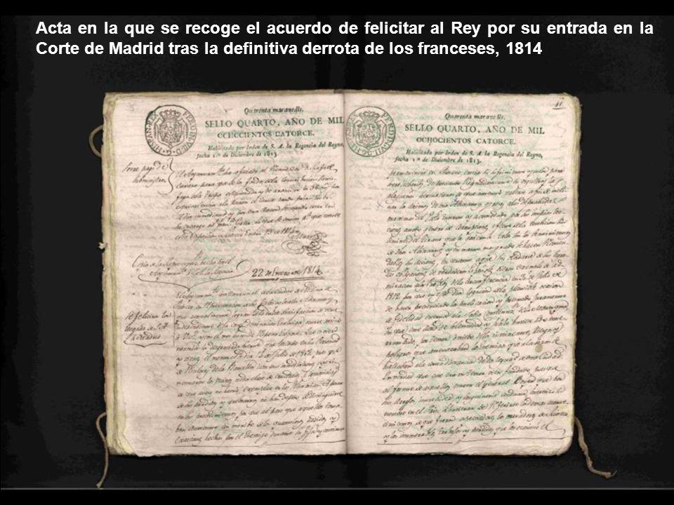 Acta en la que se recoge el acuerdo de celebrar un acto solemne para inaugurar el monumento erigido para conmemorar el primer centenario de la batalla del Moclín, 1908