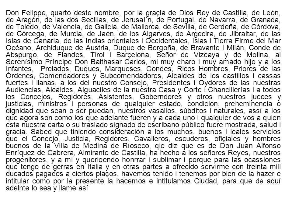 Carta de Privilegio, otorgado por Enrique II a la Villa de Medina de Ríoseco, por el que acoge a sus vecinos bajo la protección real y les exime del pago de determinados tributos en todos sus reinos, con la excepción en de los de Toledo, Sevilla y Murcia, 1370