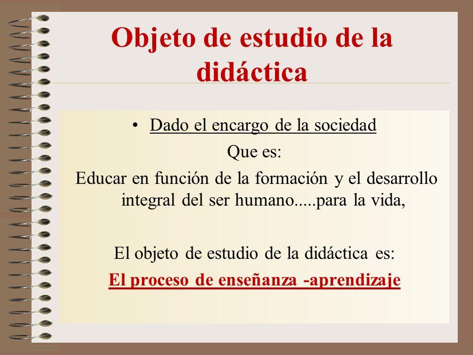 Objeto de estudio de la didáctica Dado el encargo de la sociedad Que es: Educar en función de la formación y el desarrollo integral del ser humano.....para la vida, El objeto de estudio de la didáctica es: El proceso de enseñanza -aprendizaje