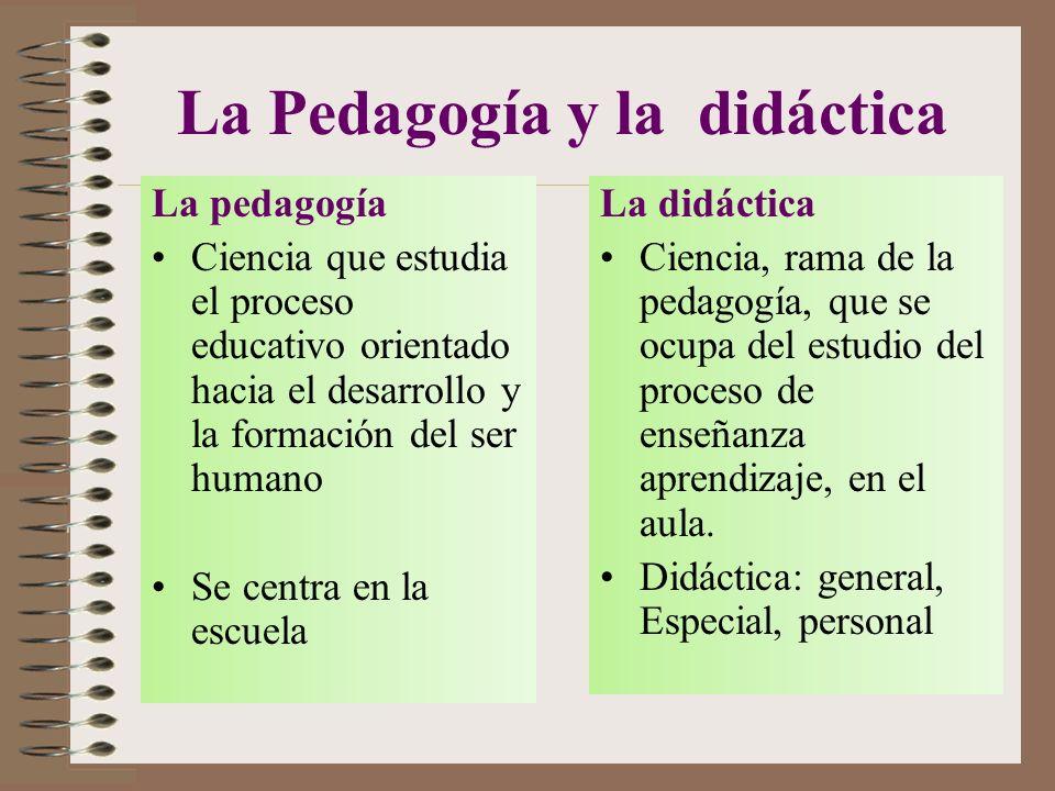 La Pedagogía y la didáctica La pedagogía Ciencia que estudia el proceso educativo orientado hacia el desarrollo y la formación del ser humano Se centra en la escuela La didáctica Ciencia, rama de la pedagogía, que se ocupa del estudio del proceso de enseñanza aprendizaje, en el aula.