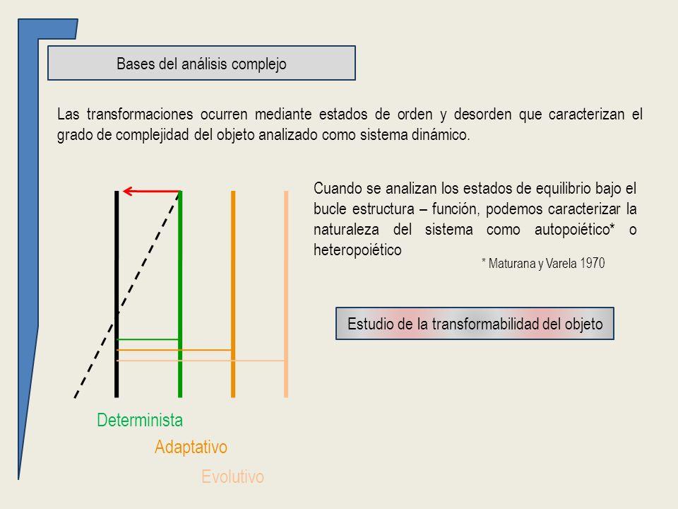 Bases del análisis complejo Las transformaciones ocurren mediante estados de orden y desorden que caracterizan el grado de complejidad del objeto analizado como sistema dinámico.