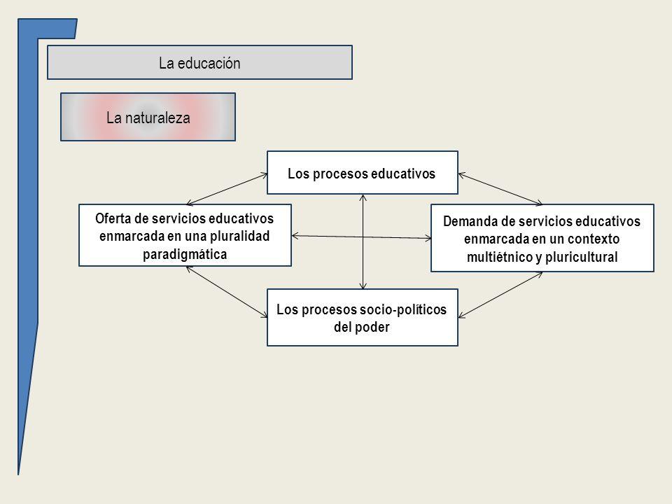 La educación La naturaleza Oferta de servicios educativos enmarcada en una pluralidad paradigmática Demanda de servicios educativos enmarcada en un contexto multiétnico y pluricultural Los procesos socio-políticos del poder Los procesos educativos