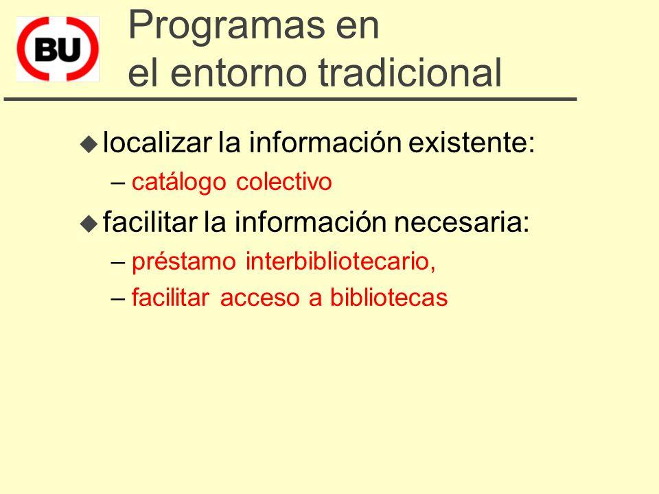¿Qué hacemos? u Programas en el entorno tradicional u Programas en el entorno digital u Programas para facilitar el cambio