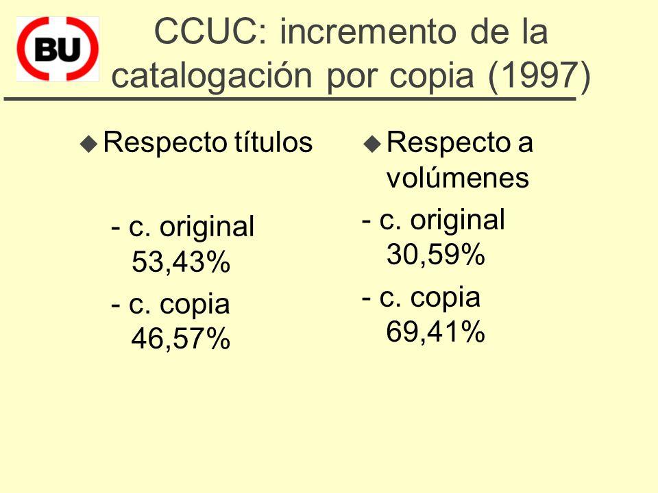 CCUC: mejora de la información bibliográfica (1 sept. 1998) u 1.432.311 títulos u 2.700.000 volúmenes u 120.408 colecciones de revistas u 2.848.659 en