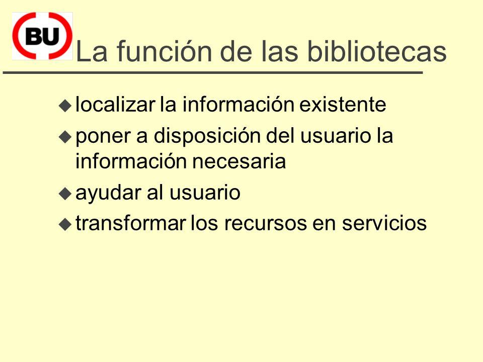 La función de las bibliotecas u localizar la información existente u poner a disposición del usuario la información necesaria u ayudar al usuario u transformar los recursos en servicios