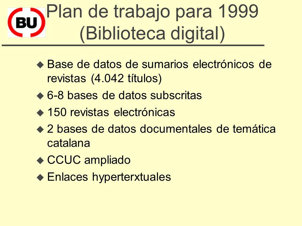 Plan de trabajo para 1998 (Biblioteca digital) u seguimiento de las novedades y pruebas coordinadas u Jornada de presentaciones de productos y servici
