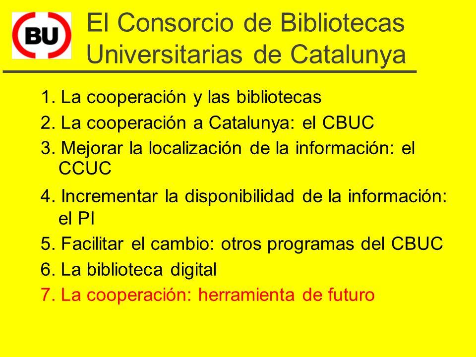 Plan de trabajo para 1999 (Biblioteca digital) u Base de datos de sumarios electrónicos de revistas (4.042 títulos) u 6-8 bases de datos subscritas u 150 revistas electrónicas u 2 bases de datos documentales de temática catalana u CCUC ampliado u Enlaces hyperterxtuales