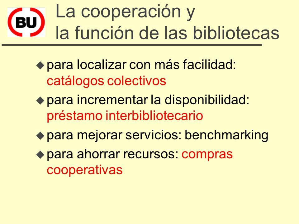 Les bases de la cooperación u toda biblioteca es insuficiente u las bibliotecas tienen problemas similares u el negocio de las bibliotecas es incrementar el uso de sus recursos u para cumplir nuestros fines podemos beneficiarnos del trabajo de otros