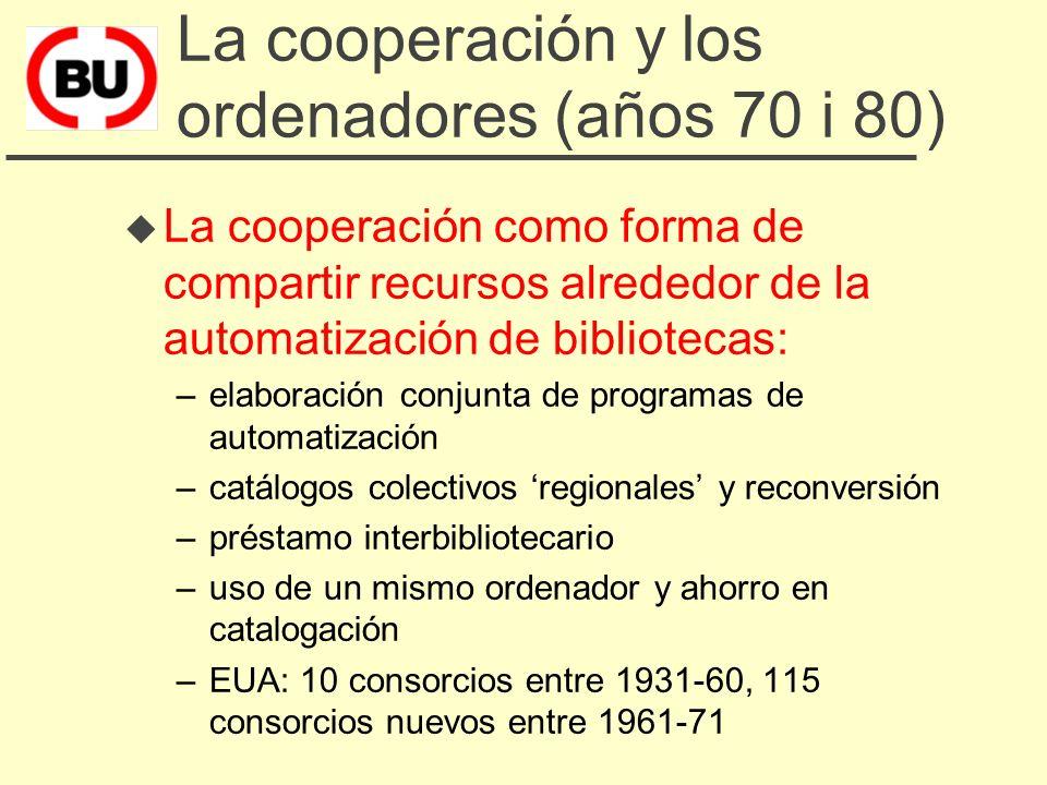 La cooperación y los ordenadores (años 70 i 80) u La cooperación como forma de compartir recursos alrededor de la automatización de bibliotecas: –elaboración conjunta de programas de automatización –catálogos colectivos regionales y reconversión –préstamo interbibliotecario –uso de un mismo ordenador y ahorro en catalogación –EUA: 10 consorcios entre 1931-60, 115 consorcios nuevos entre 1961-71