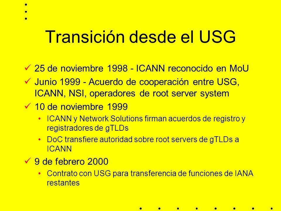Transición desde el USG 25 de noviembre 1998 - ICANN reconocido en MoU Junio 1999 - Acuerdo de cooperación entre USG, ICANN, NSI, operadores de root server system 10 de noviembre 1999 ICANN y Network Solutions firman acuerdos de registro y registradores de gTLDs DoC transfiere autoridad sobre root servers de gTLDs a ICANN 9 de febrero 2000 Contrato con USG para transferencia de funciones de IANA restantes