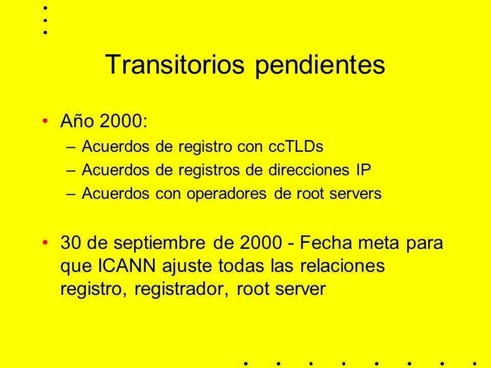 Transitorios pendientes Año 2000: –Acuerdos de registro con ccTLDs –Acuerdos de registros de direcciones IP –Acuerdos con operadores de root servers 30 de septiembre de 2000 - Fecha meta para que ICANN ajuste todas las relaciones registro, registrador, root server