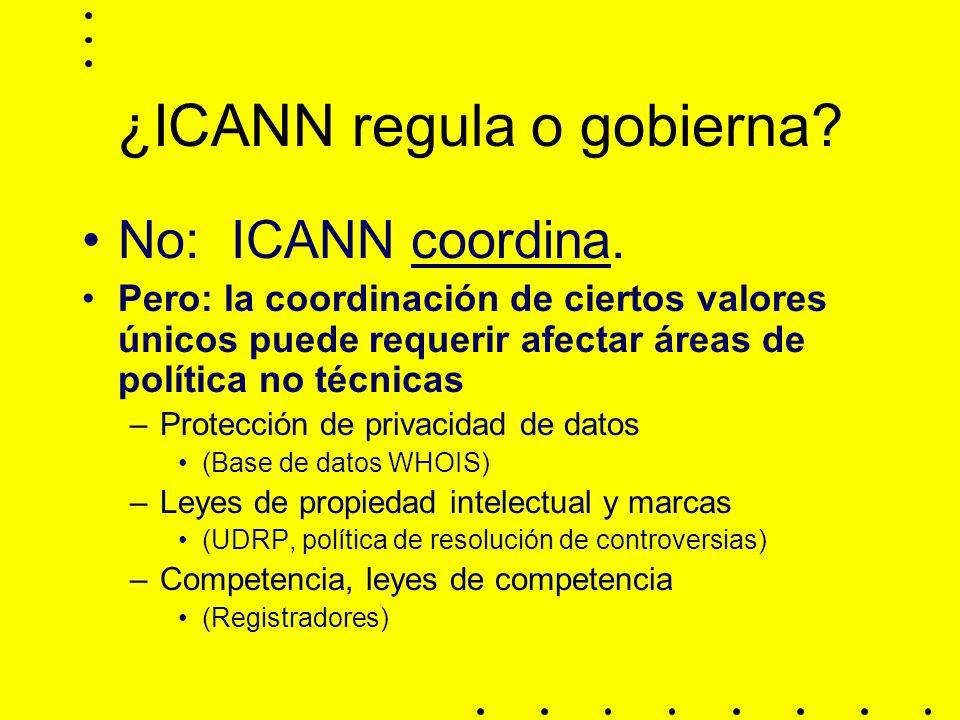 ¿ICANN regula o gobierna.No: ICANN coordina.