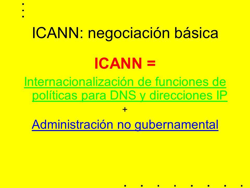 ICANN: negociación básica ICANN = Internacionalización de funciones de políticas para DNS y direcciones IP + Administración no gubernamental