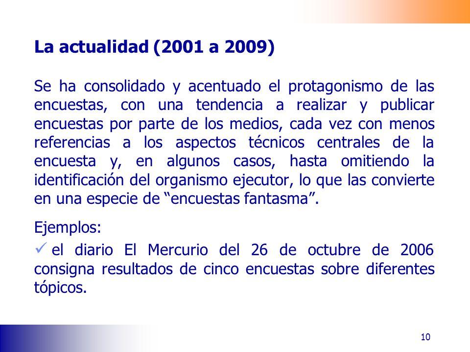La actualidad (2001 a 2009) Se ha consolidado y acentuado el protagonismo de las encuestas, con una tendencia a realizar y publicar encuestas por part