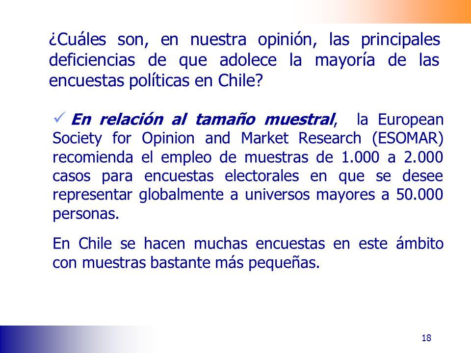 ¿Cuáles son, en nuestra opinión, las principales deficiencias de que adolece la mayoría de las encuestas políticas en Chile? En relación al tamaño mue