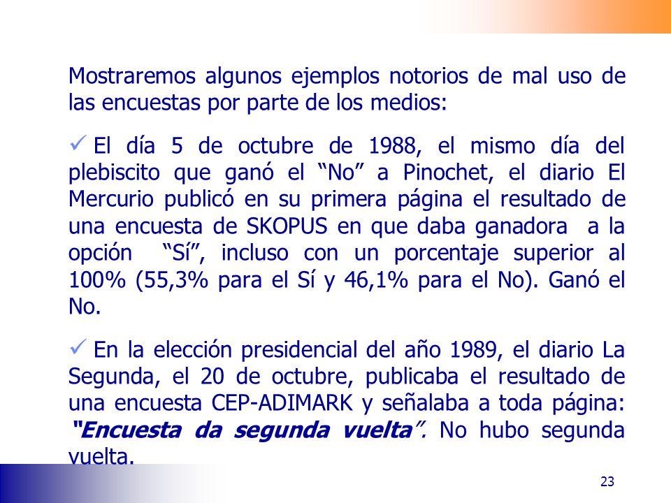 Mostraremos algunos ejemplos notorios de mal uso de las encuestas por parte de los medios: El día 5 de octubre de 1988, el mismo día del plebiscito que ganó el No a Pinochet, el diario El Mercurio publicó en su primera página el resultado de una encuesta de SKOPUS en que daba ganadora a la opción Sí, incluso con un porcentaje superior al 100% (55,3% para el Sí y 46,1% para el No).