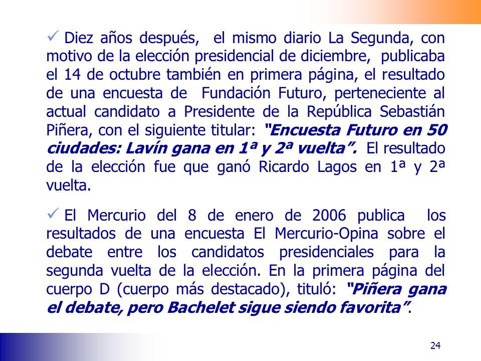 Diez años después, el mismo diario La Segunda, con motivo de la elección presidencial de diciembre, publicaba el 14 de octubre también en primera pági