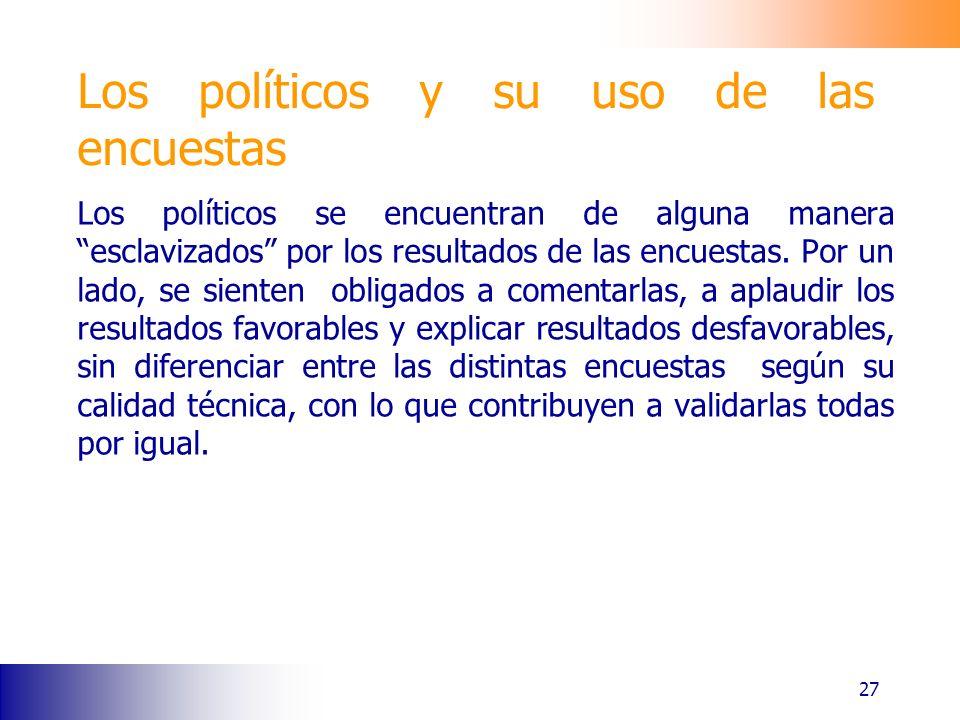 Los políticos y su uso de las encuestas Los políticos se encuentran de alguna manera esclavizados por los resultados de las encuestas.