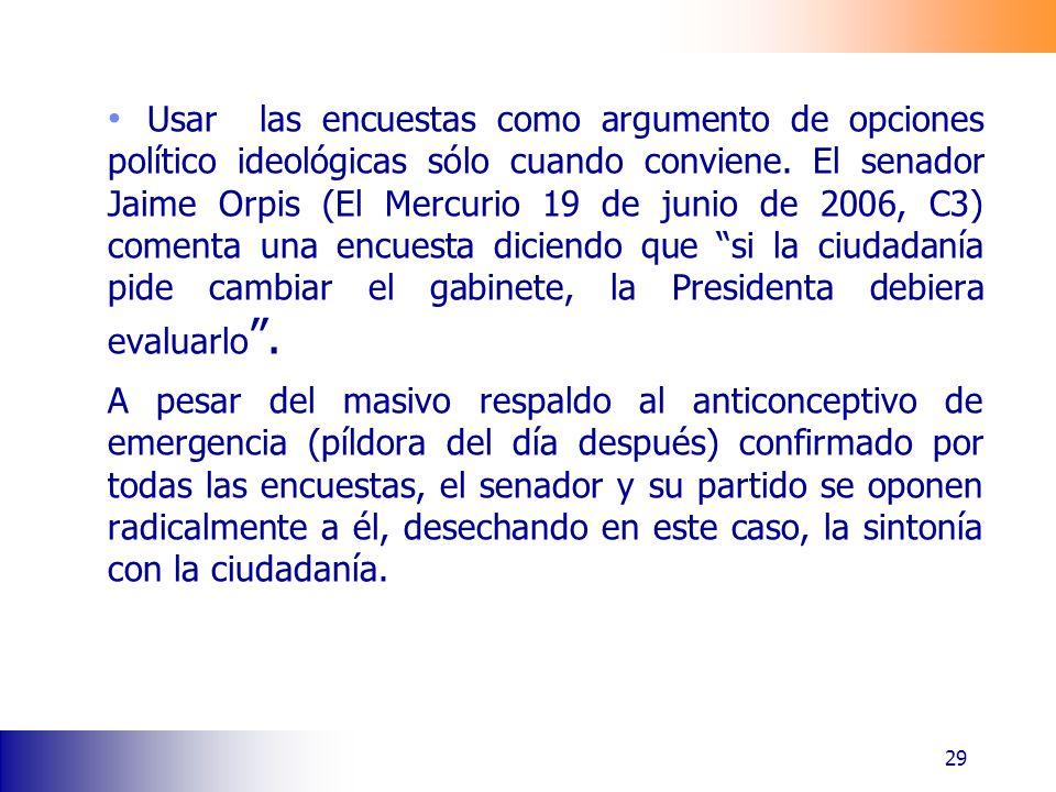 Usar las encuestas como argumento de opciones político ideológicas sólo cuando conviene. El senador Jaime Orpis (El Mercurio 19 de junio de 2006, C3)