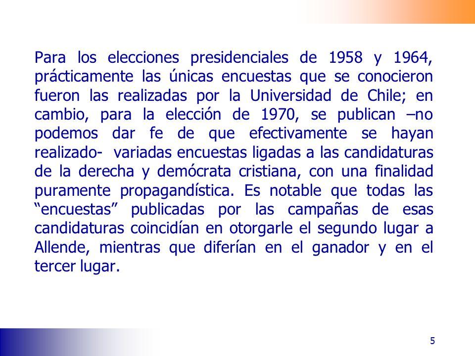 Para los elecciones presidenciales de 1958 y 1964, prácticamente las únicas encuestas que se conocieron fueron las realizadas por la Universidad de Chile; en cambio, para la elección de 1970, se publican –no podemos dar fe de que efectivamente se hayan realizado- variadas encuestas ligadas a las candidaturas de la derecha y demócrata cristiana, con una finalidad puramente propagandística.