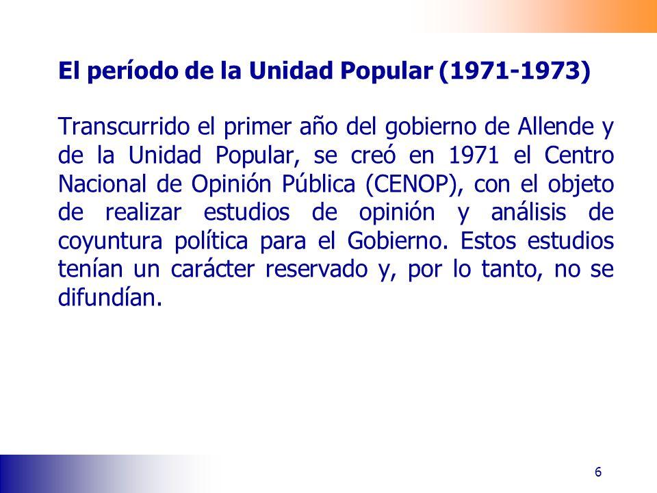 El período de la Unidad Popular (1971-1973) Transcurrido el primer año del gobierno de Allende y de la Unidad Popular, se creó en 1971 el Centro Nacional de Opinión Pública (CENOP), con el objeto de realizar estudios de opinión y análisis de coyuntura política para el Gobierno.