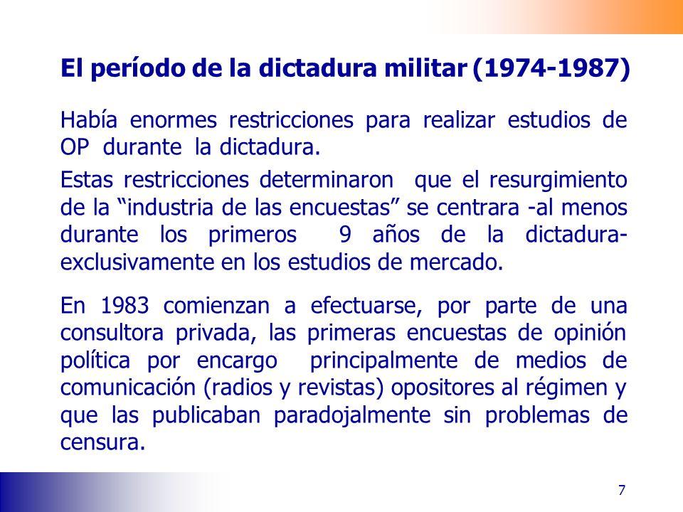 El período de la dictadura militar (1974-1987) Había enormes restricciones para realizar estudios de OP durante la dictadura. Estas restricciones dete