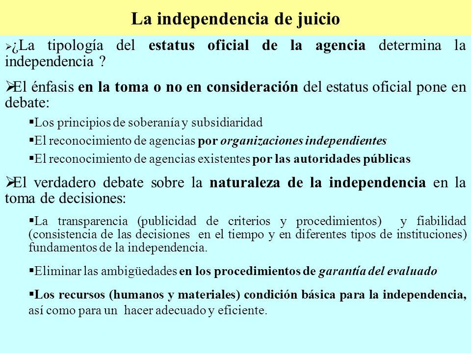 La independencia de juicio ¿La tipología del estatus oficial de la agencia determina la independencia .
