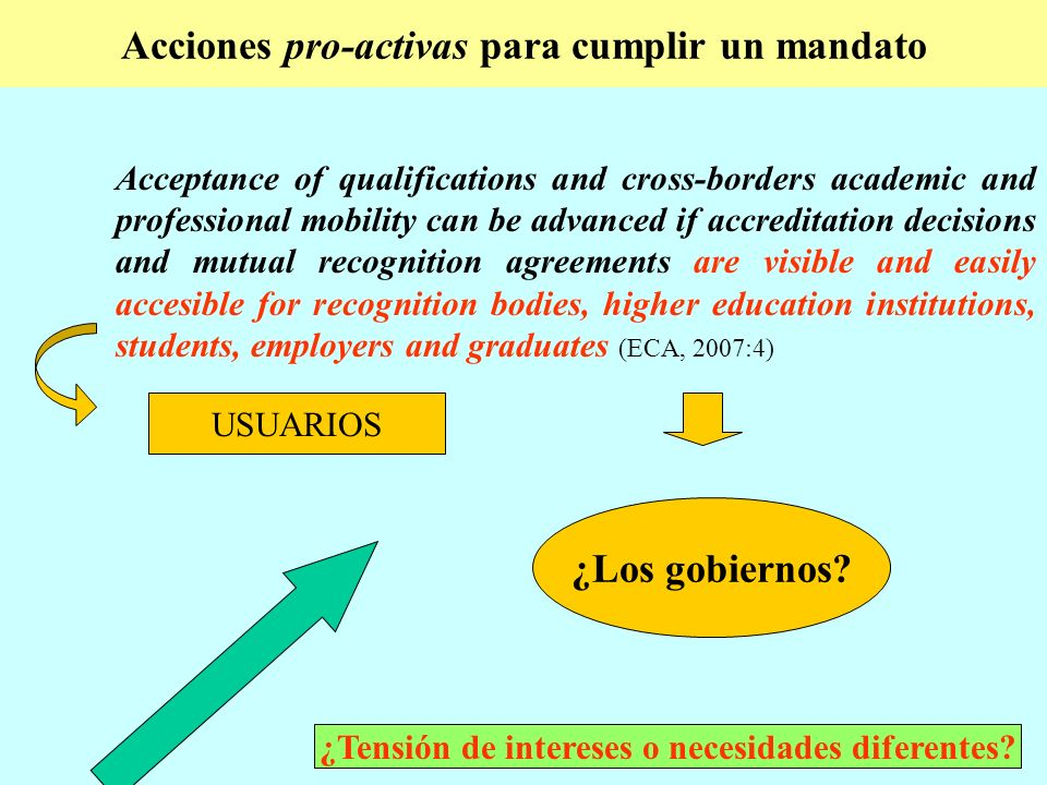 Acciones pro-activas para cumplir un mandato Acceptance of qualifications and cross-borders academic and professional mobility can be advanced if accreditation decisions and mutual recognition agreements are visible and easily accesible for recognition bodies, higher education institutions, students, employers and graduates (ECA, 2007:4) USUARIOS ¿Los gobiernos.