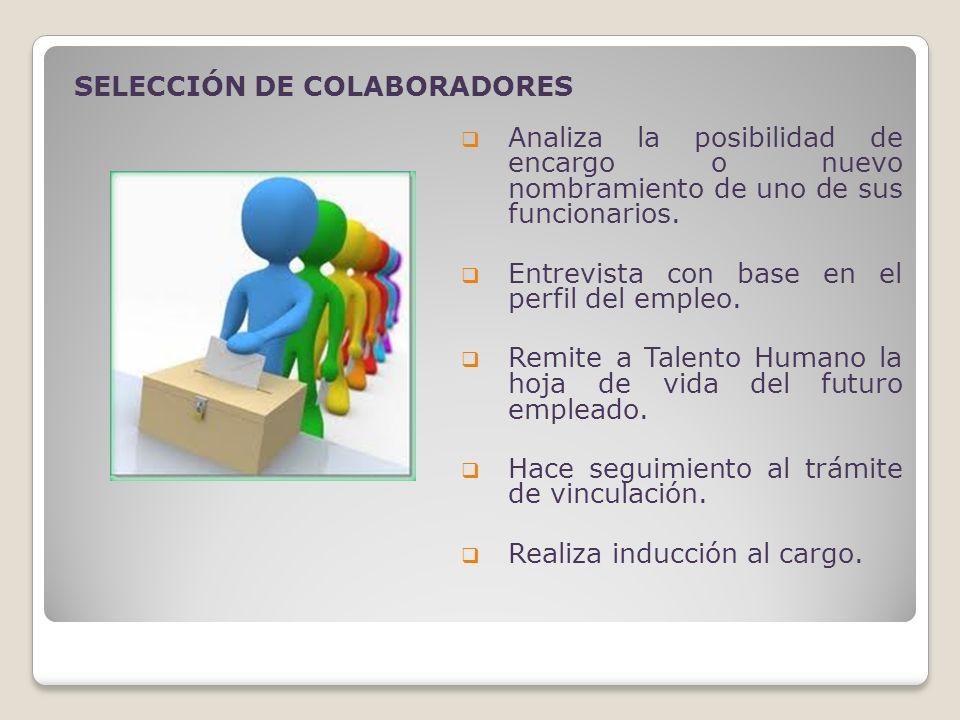 Analiza la posibilidad de encargo o nuevo nombramiento de uno de sus funcionarios. Entrevista con base en el perfil del empleo. Remite a Talento Human