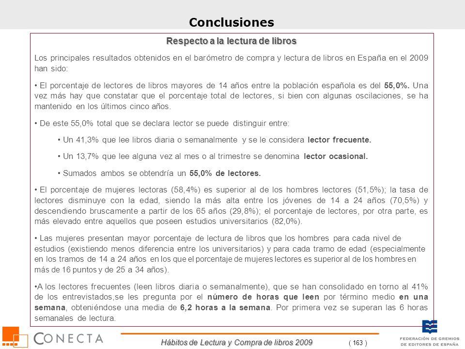 Hábitos de Lectura y Compra de libros 2009 ( 163 ) Conclusiones Respecto a la lectura de libros Los principales resultados obtenidos en el barómetro d