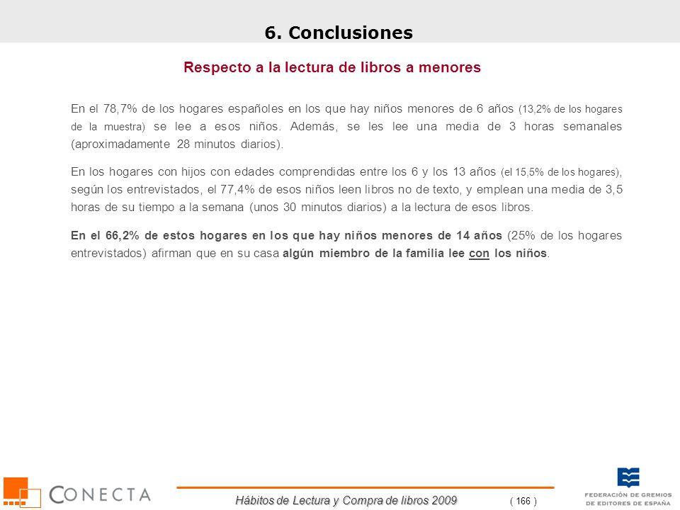 Hábitos de Lectura y Compra de libros 2009 ( 166 ) 6. Conclusiones Respecto a la lectura de libros a menores En el 78,7% de los hogares españoles en l