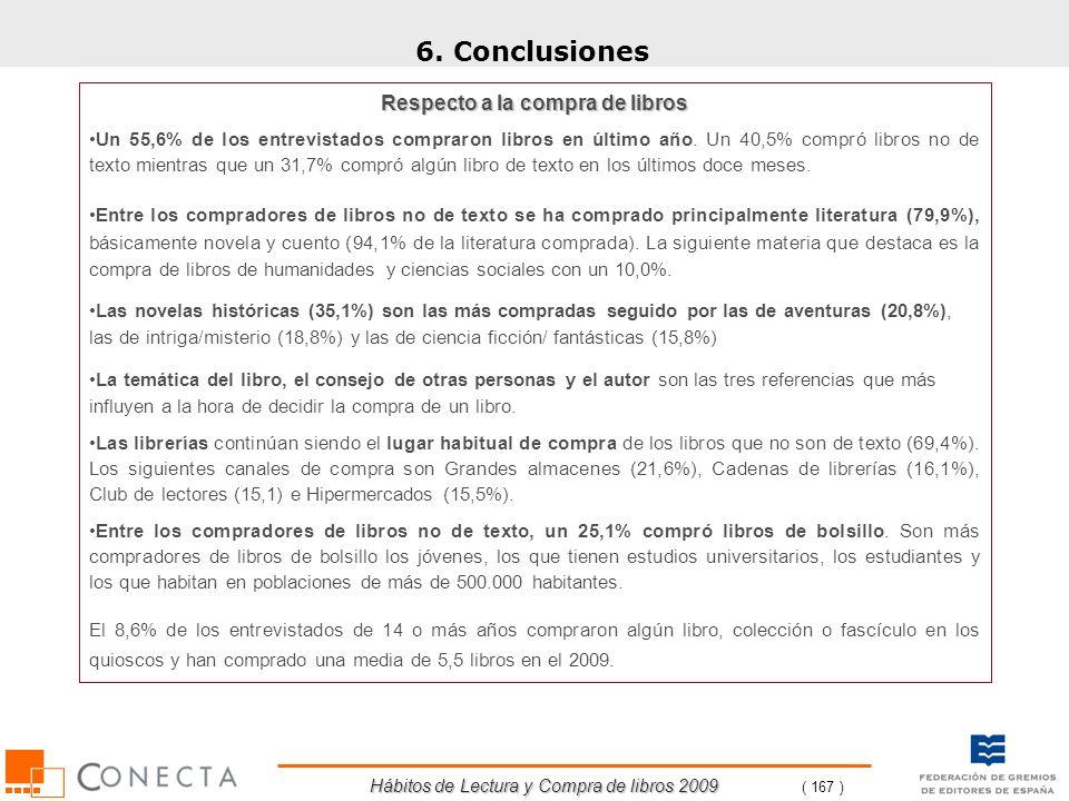 Hábitos de Lectura y Compra de libros 2009 ( 167 ) 6. Conclusiones Respecto a la compra de libros Un 55,6% de los entrevistados compraron libros en úl