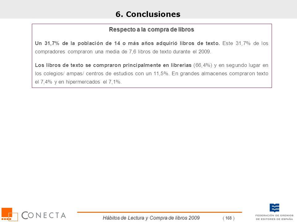 Hábitos de Lectura y Compra de libros 2009 ( 168 ) 6. Conclusiones Respecto a la compra de libros Un 31,7% de la población de 14 o más años adquirió l