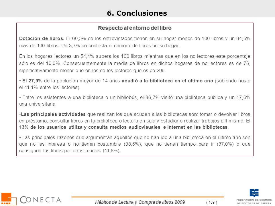Hábitos de Lectura y Compra de libros 2009 ( 169 ) 6. Conclusiones Respecto al entorno del libro Dotación de libros. El 60,5% de los entrevistados tie