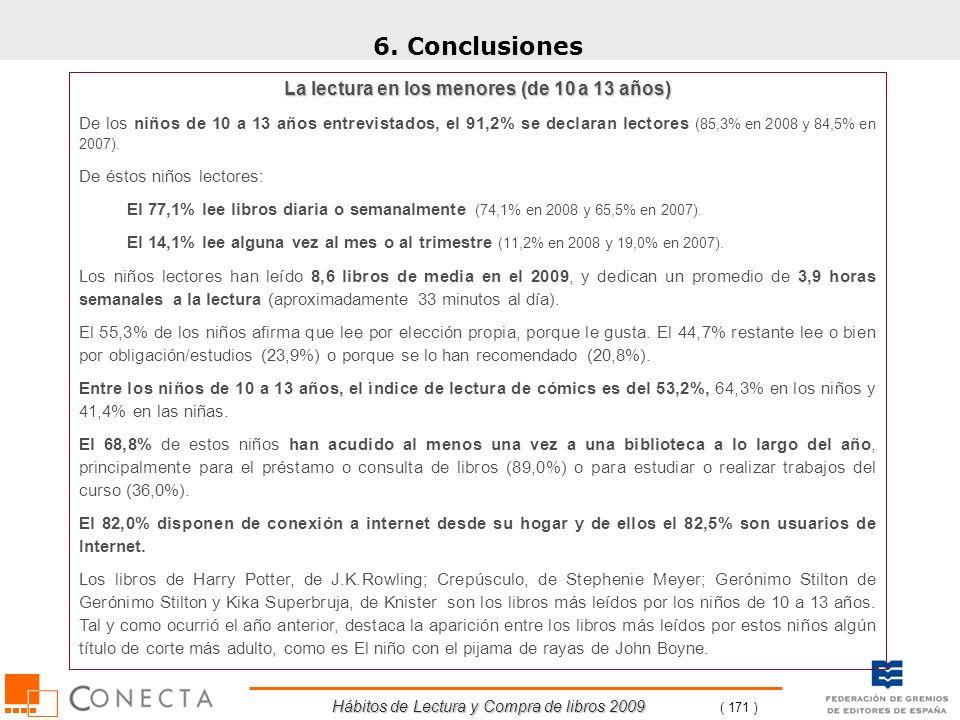 Hábitos de Lectura y Compra de libros 2009 ( 171 ) La lectura en los menores (de 10 a 13 años) De los niños de 10 a 13 años entrevistados, el 91,2% se
