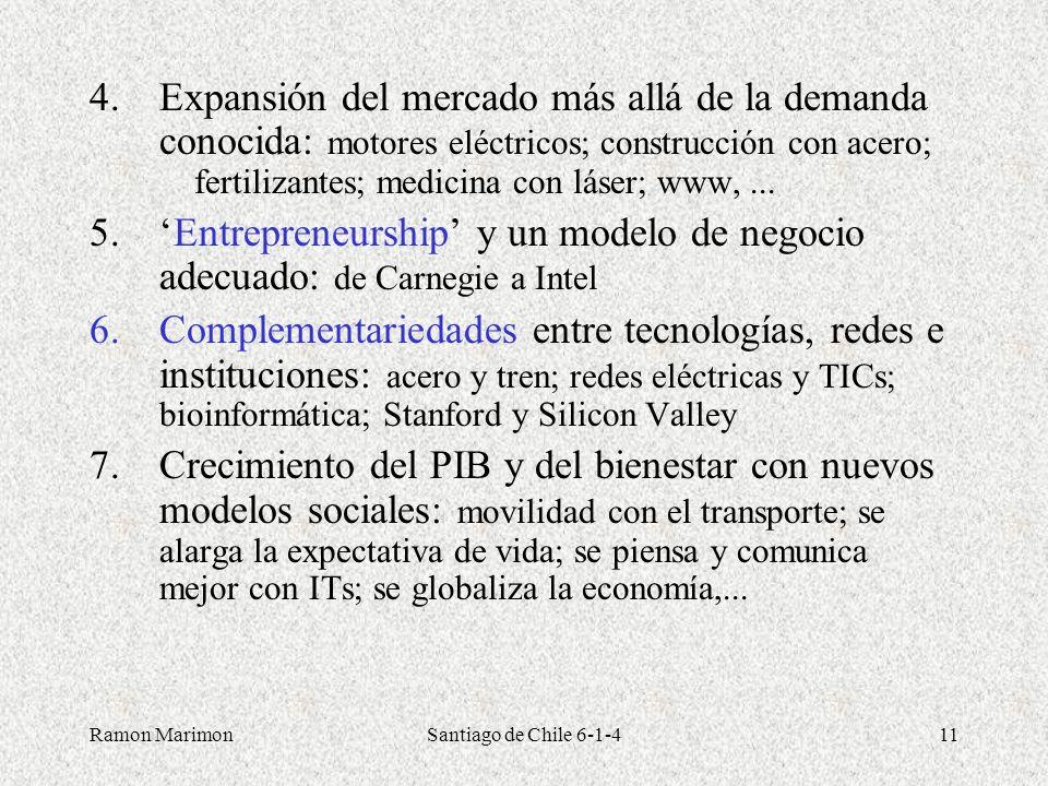 Ramon MarimonSantiago de Chile 6-1-411 4.Expansión del mercado más allá de la demanda conocida: motores eléctricos; construcción con acero; fertilizan