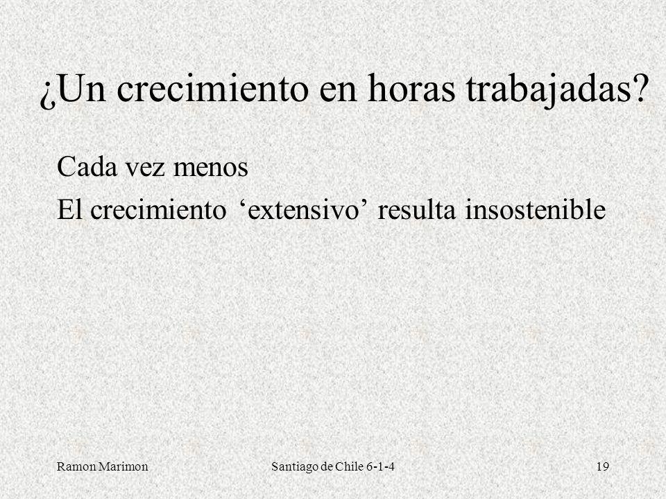 Ramon MarimonSantiago de Chile 6-1-419 ¿Un crecimiento en horas trabajadas? Cada vez menos El crecimiento extensivo resulta insostenible
