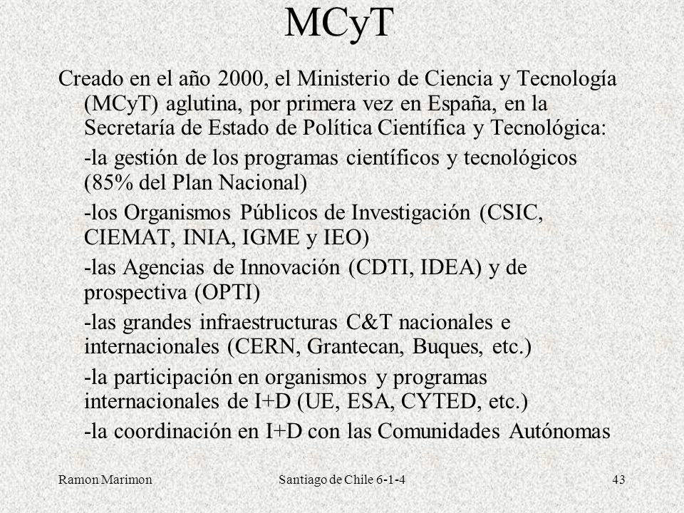 Ramon MarimonSantiago de Chile 6-1-443 MCyT Creado en el año 2000, el Ministerio de Ciencia y Tecnología (MCyT) aglutina, por primera vez en España, e