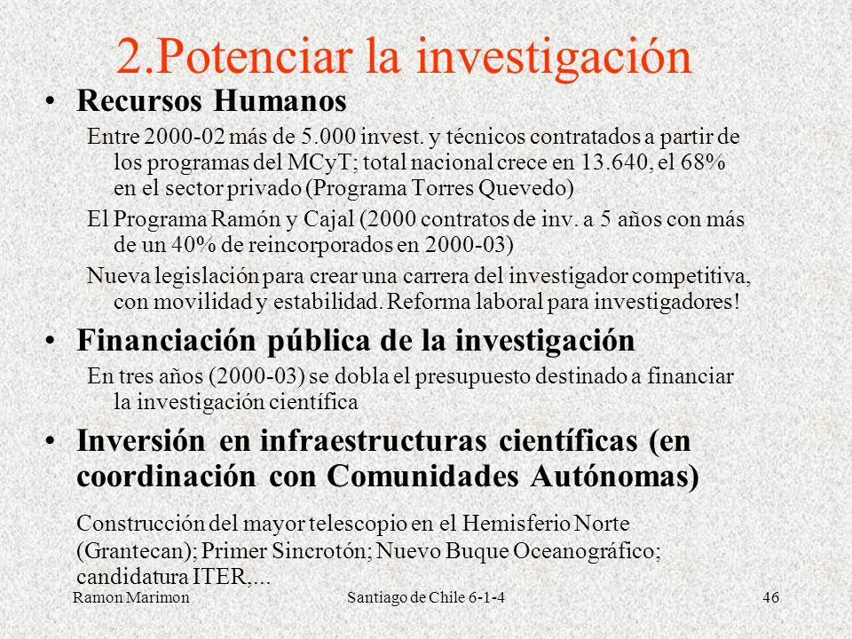 Ramon MarimonSantiago de Chile 6-1-446 2.Potenciar la investigación Recursos Humanos Entre 2000-02 más de 5.000 invest. y técnicos contratados a parti