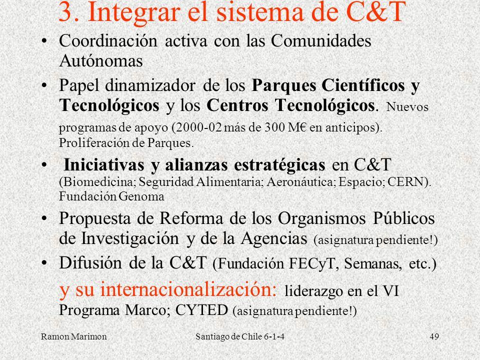 Ramon MarimonSantiago de Chile 6-1-449 3. Integrar el sistema de C&T Coordinación activa con las Comunidades Autónomas Papel dinamizador de los Parque